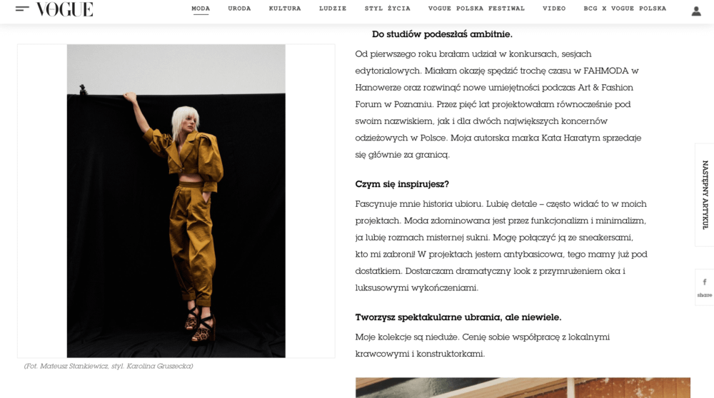 Vogue Kata Haratym brand